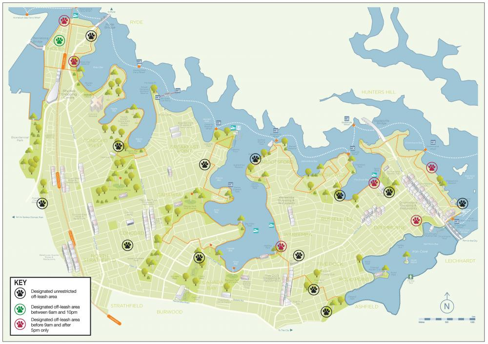 Map of Dog Parks in the City of Canada Bay