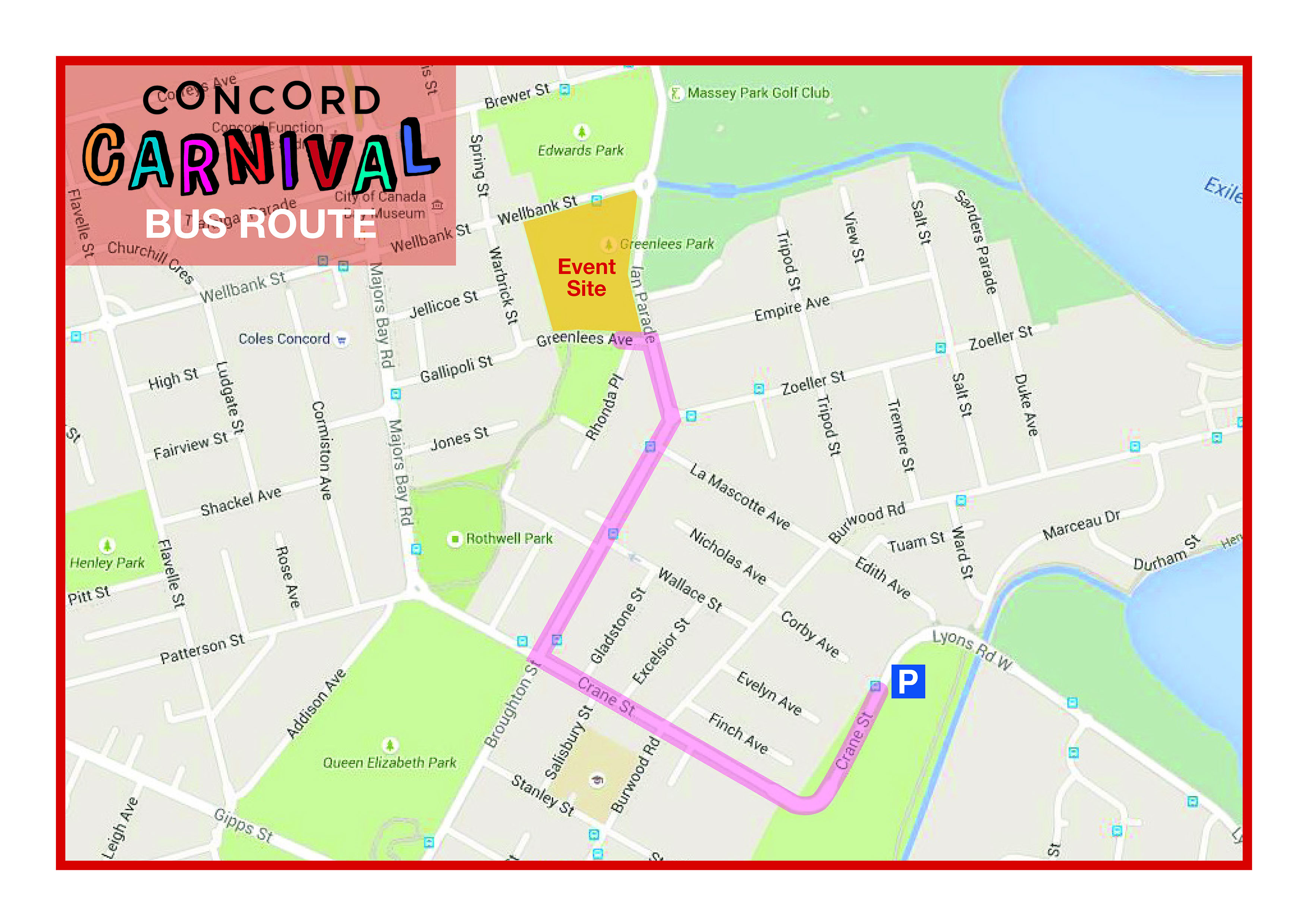 Concord Carnival shuttle map