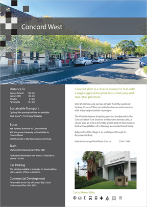 Concord West Place Fact Sheet