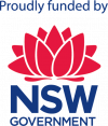 "Image of NSW Government Logo with text ""Proudly funded by"""