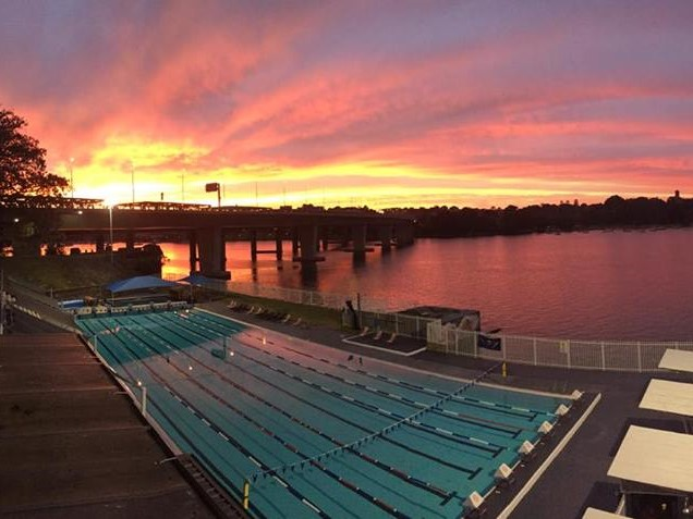 Image of Drummoyne Swimming Centre at sunrise